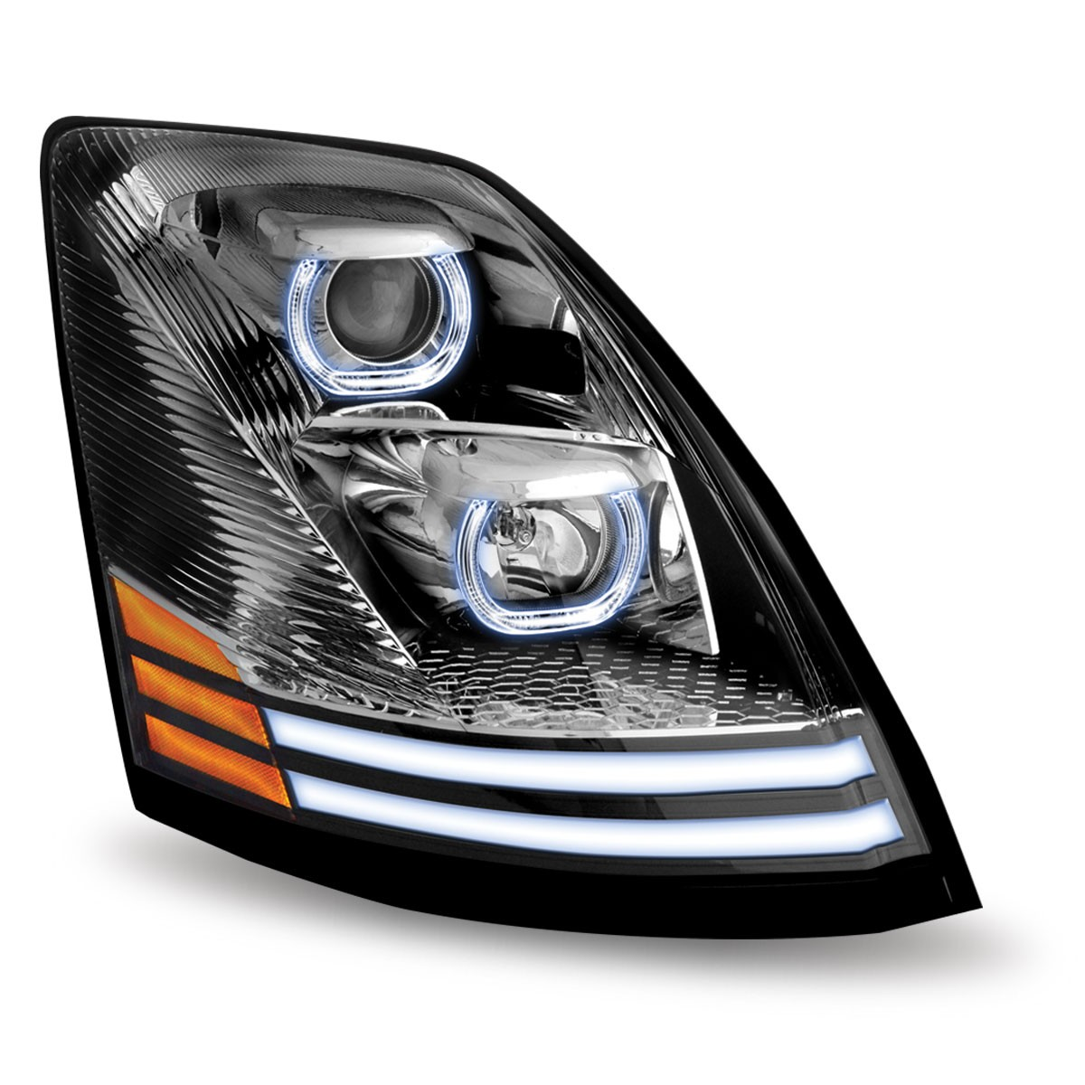 volvo vnl chrome halogen headlight with led passenger. Black Bedroom Furniture Sets. Home Design Ideas