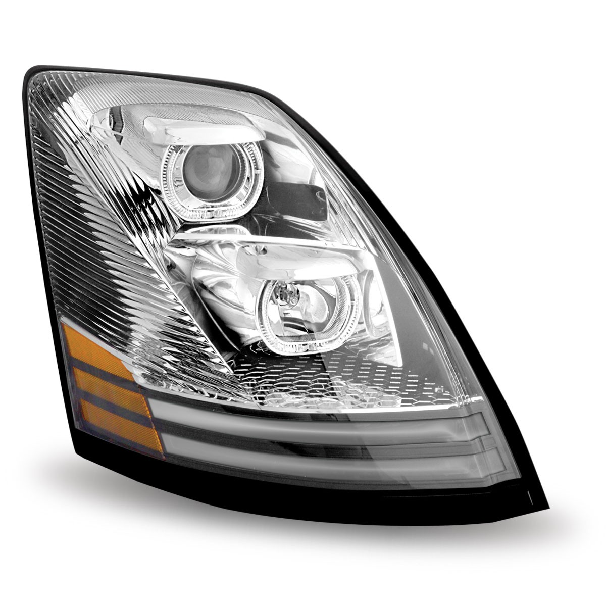 volvo vnl chrome halogen headlight with led passenger side volvo vn vnl headlight. Black Bedroom Furniture Sets. Home Design Ideas