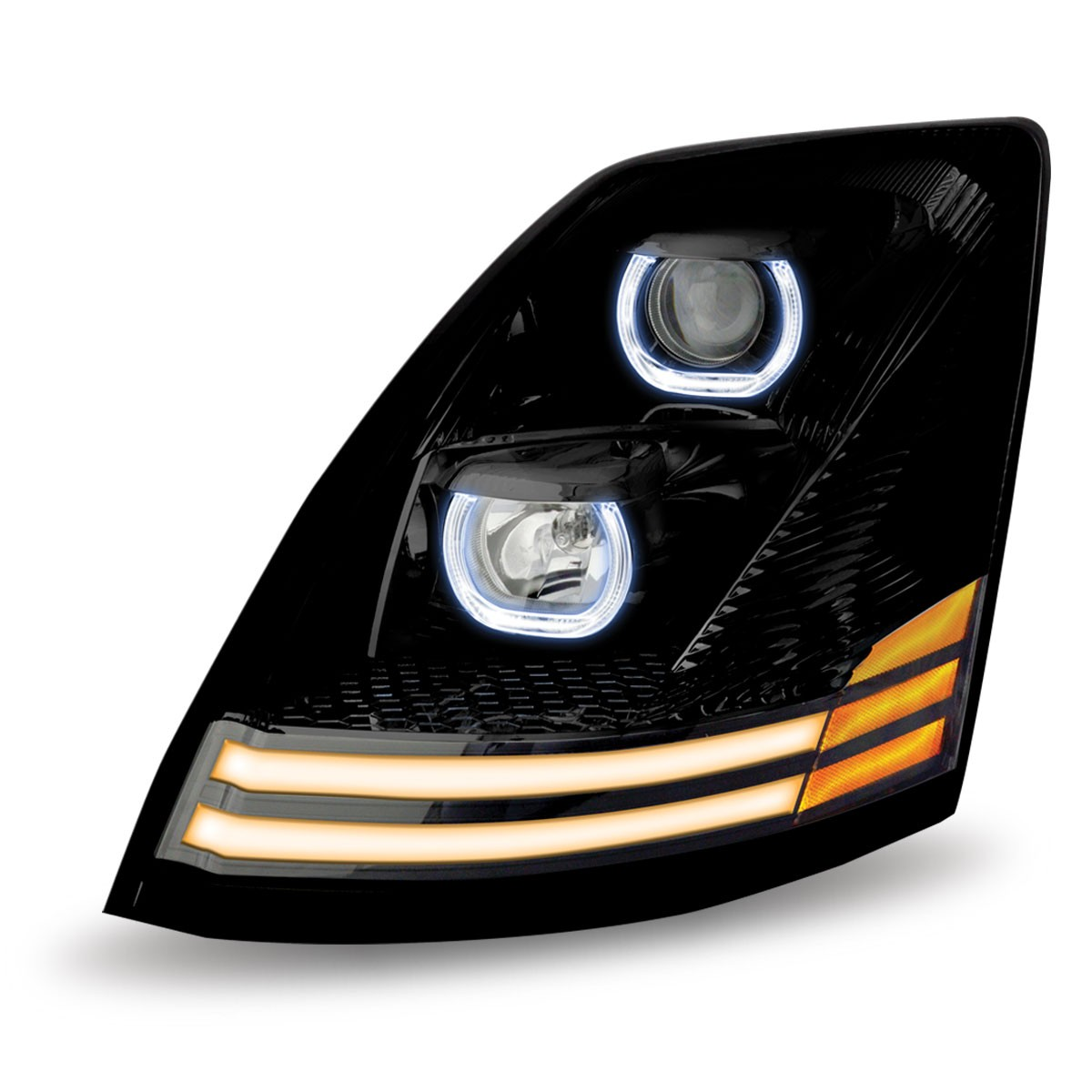 volvo vnl black halogen headlight with led driver side volvo vn vnl headlight. Black Bedroom Furniture Sets. Home Design Ideas