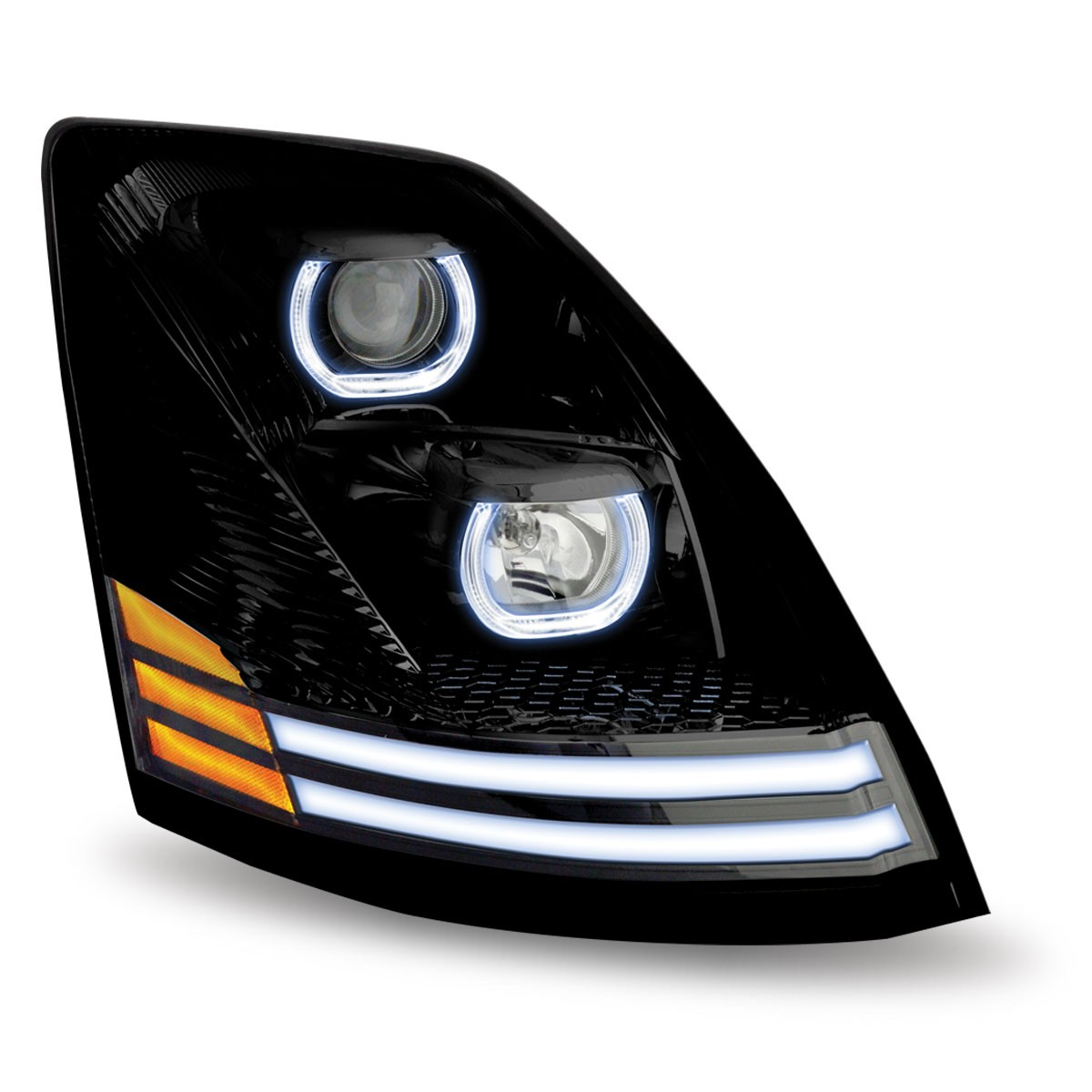 volvo vnl black halogen headlight with led passenger side. Black Bedroom Furniture Sets. Home Design Ideas