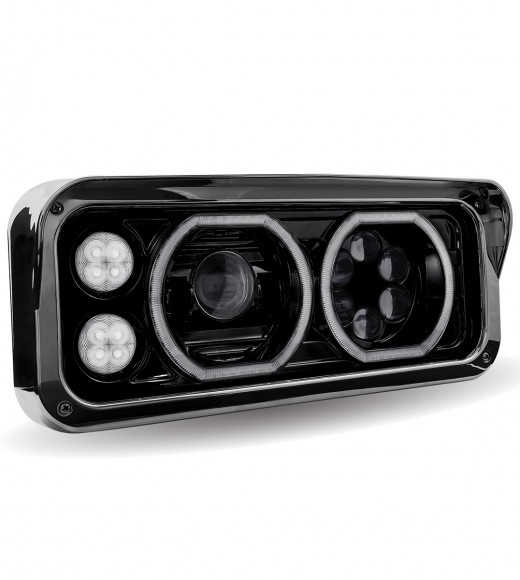 Black Universal LED Projector Headlight Assembly (Passenger Side)