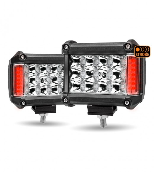"""4"""" 'Strobe Series' Spot LED Work Lamps with Red Side Strobe (1800 Lumens)"""
