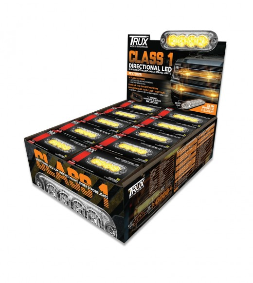 POS Display of 20 x Class 1 Directional 4 LED Slim Surface Mount Amber Strobe Light With 36 Flash Patterns LED (4 Diodes)