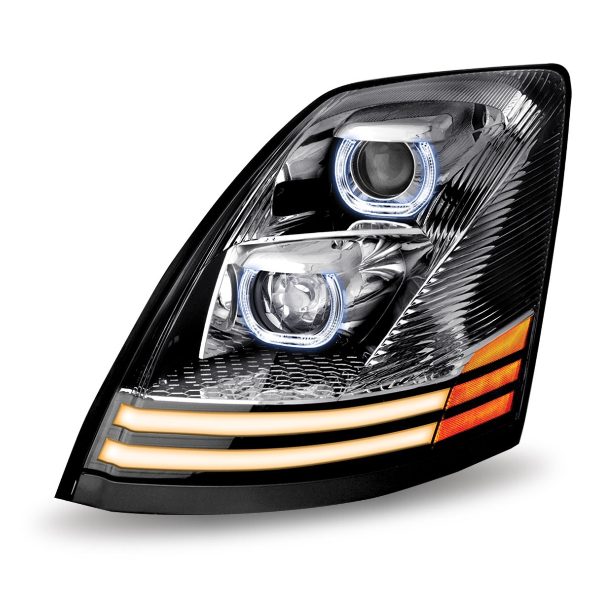 LED Turn Signal /& Running Light Dual Function Chrome Headlights 6 LED-12 Volt