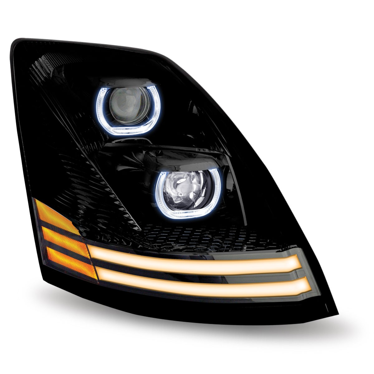 Volvo Vn Vnl Black Led Projector Headlight Assembly