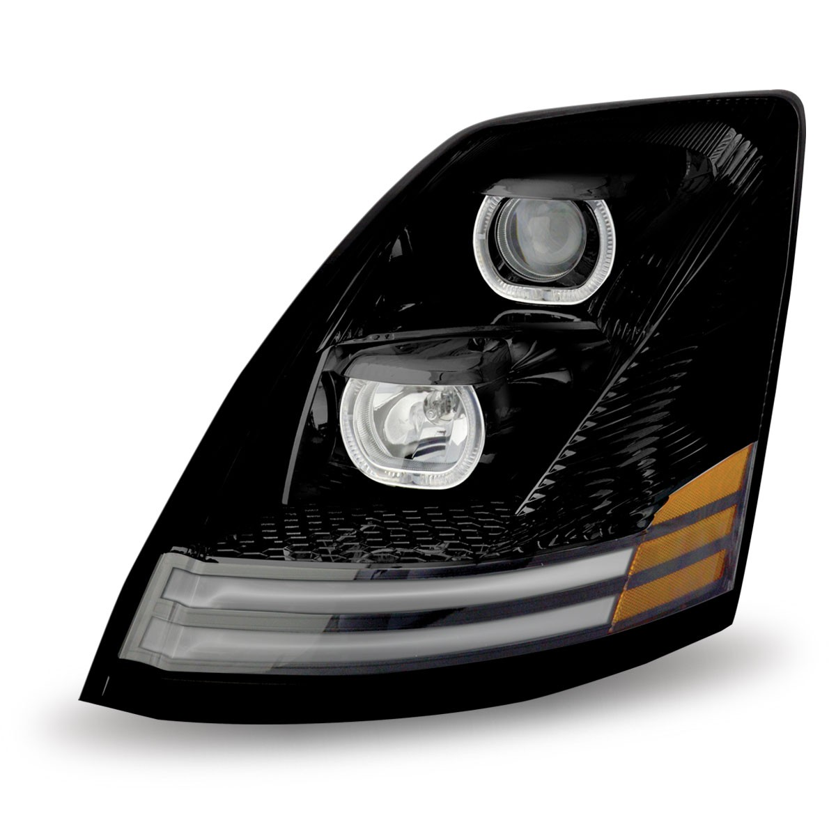 volvo vnvnl black halogen headlight assembly driver side. Black Bedroom Furniture Sets. Home Design Ideas