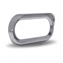 "Oval Chrome Plastic ""Screw On"" Bezel with Visor"