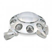 """Chrome ABS Plastic Front Axle Cover Kit w/ Removable Center Cap & 1 1/2"""" Push-On Nut Covers"""