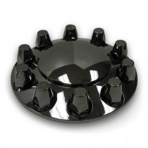 Black Chrome ABS Plastic Front Hub Cover Kit w/ Removable Center Cap & 33mm Threaded Nut Covers