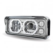 Universal Chrome LED Projector Headlight Assembly with Housing (Driver Side)