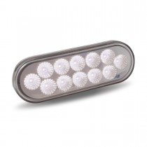 Red Stop, Turn & Tail to White Back Up LED Oval Light (12 Diodes)