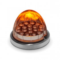 Clear Amber Turn Signal & Marker LED Watermelon Light with Reflector Cup & Locking Ring (19 Diodes)