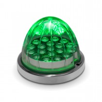 Amber Turn Signal & Marker to Green Auxiliary LED Watermelon Light with Reflector Cup & Locking Ring (19 Diodes)