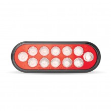 Oval Anodized Red Stop, Turn & Tail to White Back Up LED Light (12 Diodes)