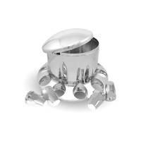 Chrome ABS Plastic Rear Axle Cover Kit w/ Removable Center Cap &  33mm Threaded Nut Covers