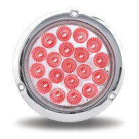 """4"""" Red Stop, Turn & Tail to Green Auxiliary LED Light w/ Flange Mount (19 Diodes)"""