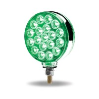 Amber / Red Turn Signal & Marker to Green Auxiliary Round Double Face LED Fender Light (38 Diodes)