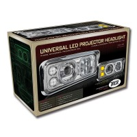 Universal Chrome LED Projector Headlight Assembly with Housing (Passenger Side)