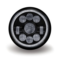 "7"" Motorcycle Black LED Headlight (Combination High & Low Beam 