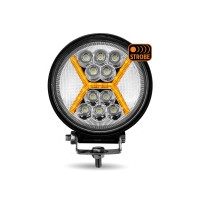 "4.5"" Round LED Work Lamp with Amber ""X"" Strobe (Spot & Flood Beam 