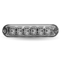 """Class 1 Directional 6 LED Slim Surface Mount Amber Strobe Light with """"L"""" Bracket (36 Flash Patterns)"""