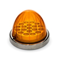 Amber Turn Signal & Marker LED Watermelon Light with Reflector Cup & Locking Ring (19 Diodes)