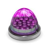 Red Turn Signal & Marker to Purple Auxiliary LED Watermelon Light with Reflector Cup & Locking Ring (19 Diodes)
