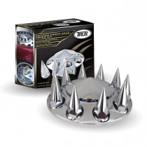 Chrome ABS Plastic Front Pointed Axle Cover Kit w/ Removable Center Cap &  33mm Threaded Pointed Nut Covers