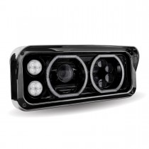 Universal Black LED Projector Headlight Assembly with Housing (Passenger Side)