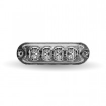 """Class 1 Directional 4 LED Slim Surface Mount Amber Strobe Light with """"L"""" Bracket (36 Flash Patterns)"""